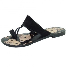 Indian Toe Post Sandals Black Leather