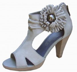 Iona Grey Leather Heeled Sandals