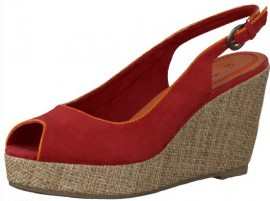 Kim Red Hessian Wedge Heeled Shoes
