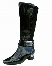 Ladies Stretch Boots in Black Patent