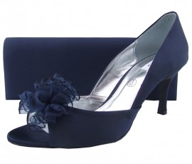 Lexus Arora Navy Satin Peep Toe Shoe