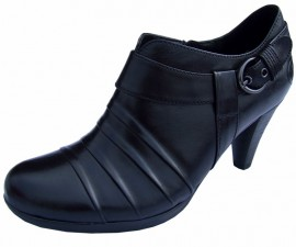 Libby Black Leather Heeled Shoe Boot