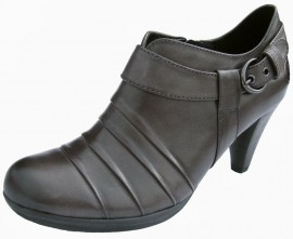 Libby Graphite Grey Leather Heeled Shoe Boot