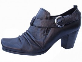 Lilian Black Leather Heeled Shoe Boot