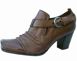 Lilian Espresso Brown Leather Heeled Shoe Boot