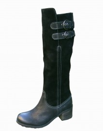 Lynette Black Leather Suede Ladies Boots