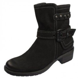 Mary Black Leather Flat Ankle Boots