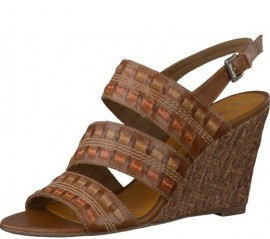 Mel Brown Leather Wedge Heeled Sandals