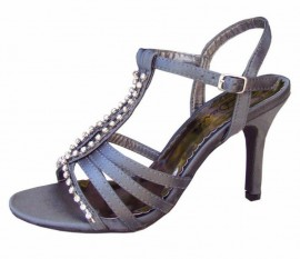 Melody Pewter Satin Diamante Sandal