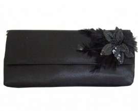 Menbur Black Satin Sequin & Feather Soft Clutch Bag