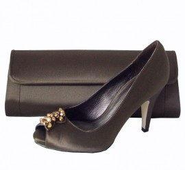 Menbur Brown Peep Toe Platform Shoes