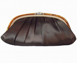 Menbur Brown Satin Soft Clutch with a Tortoise Frame