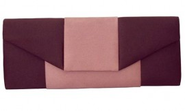 Menbur Brown & Powder Pink Satin Clutch Bag