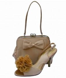 Menbur Champagne Satin & Silver Frame Clutch Bag