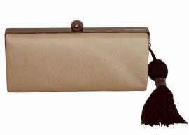 Menbur Champagne Satin Hard Clutch Bag