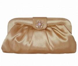 Menbur Champagne Satin & Diamante Soft Clutch Bag