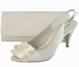 Menbur Ivory Satin Peep Toe Ladies Shoe