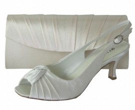 Menbur Ivory Satin Peep Toe Ladies Shoes