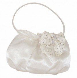 Menbur Ivory Satin Clutch Bag with Diamante & Bow
