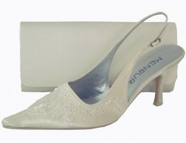 Menbur Ivory Satin with Bead & Sequin Ladies Shoes