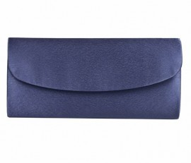 Menbur Navy Blue Satin Clutch Bag