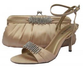 Menbur Nude Satin Diamante Sandals