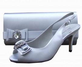 Menbur Pearl Grey Peep Toe Shoes
