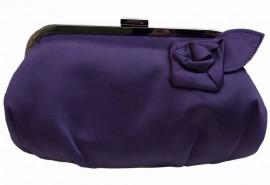 Menbur Plum Satin Clutch Bag with Flower