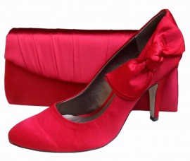 Menbur Red Satin Heeled Ladies Shoe