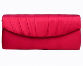 Menbur Red Satin Ruffle Clutch Bag