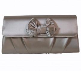 Menbur Stone Satin Clutch Bag with Bow & Diamante