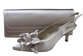 Menbur Stone Satin Shoe with Rose & Clutch Bag