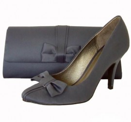 Menbur Matt Grey Satin Heeled Ladies Shoes