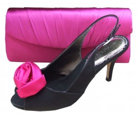 Menbur Avance Black & Fuchsia Flower Shoes