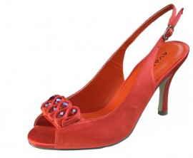 Menbur Avance Orange Mango Satin Peep Toe Ladies Shoes
