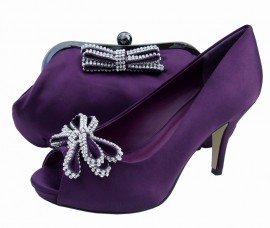 Menbur Avance Platform Plum Purple Evening Shoes & Bag