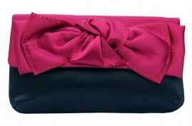 Menbur Black Burgundy Bow Clutch Bag