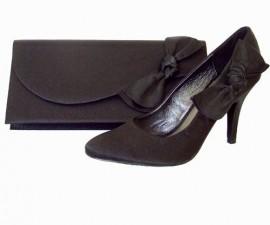 Menbur Black Satin Curved Flap & Bow Clutch Bag
