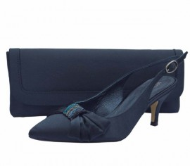 Menbur Navy Satin & Diamante Low Heel Ladies Shoes