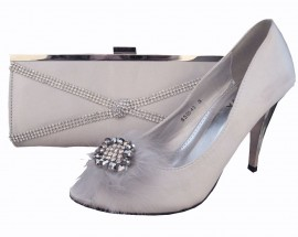 Nadia Silver Satin & Diamante Clutch Bag