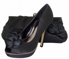 Menbur Paco Mena Black Satin Ladies Shoes