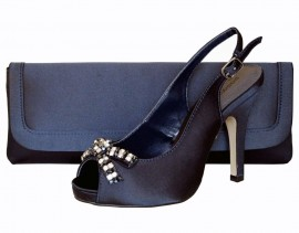 Paco Mena Navy Blue Satin Peep Toe Ladies Shoes