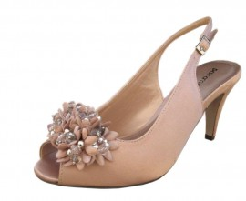 Paco Mena Nude Satin Peep Toe Ladies Shoes