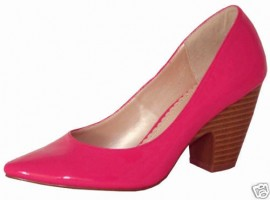Fuchsia Pink Patent Heeled Ladies Shoes
