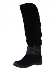 Pippa Black Leather Over The Knee Ladies Boots