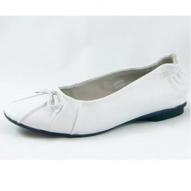Polly White Leather Ballet Shoe
