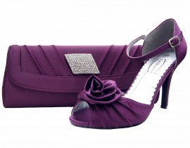 Purple Satin & Diamante Clutch Bag