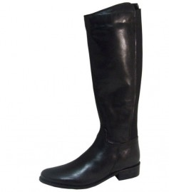 Ronnie Black Leather Elasticated Knee High Boots