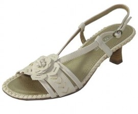 Rose Satin Cream Sandals