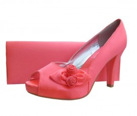 Rosebud Coral Satin Platform Ladies Shoe
